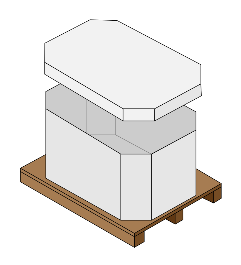 Octagonal Gaylord box.