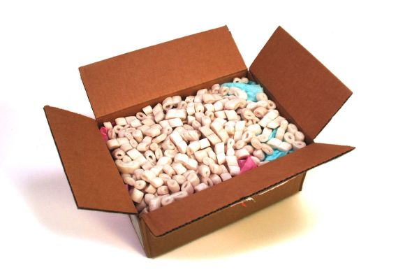 Packing peanuts in cardboard box.